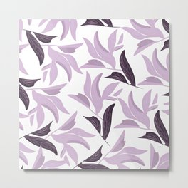 Abstract modern pastel lavender white leaves floral Metal Print