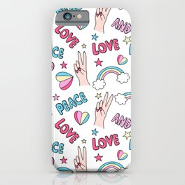 Cute colorful pattern with peace and love lettering text and symbols: hearts, rainbows, female hands and stars iPhone Case