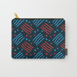 4th Of July red blue line American pattern Carry-All Pouch