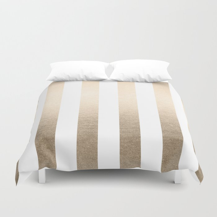 Simply Vertical Stripes in White Gold Sands Duvet Cover
