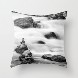 River and Waterfall time-lapse black and white art photography - photographs Throw Pillow