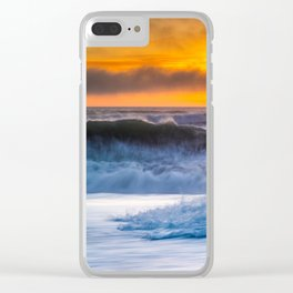 Waves Pound the Beach at Sunset Clear iPhone Case
