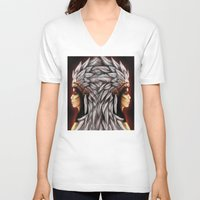 native american V-neck T-shirts featuring Native by PanDuhVka