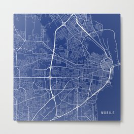 Mobile Map, USA - Blue Metal Print