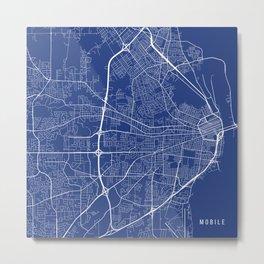 Mobile Map, USA - Blue Metal Print