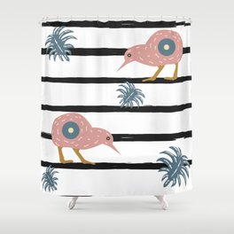 Bird Collection Seamless pattern with black stripes and dots. Kiwi Bird. Shower Curtain