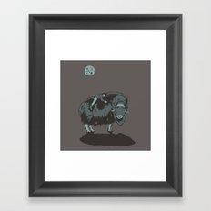 Muskox by moonlight Framed Art Print