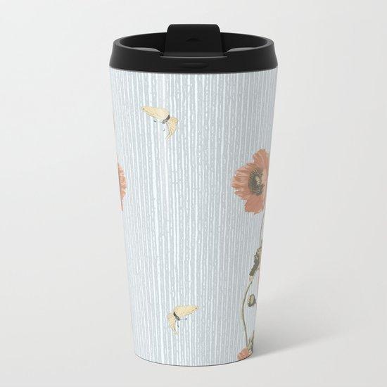 Poppy and stripe Metal Travel Mug