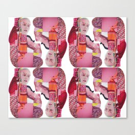 pinky was ready - a pink and red modern collage Canvas Print
