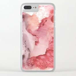 pink Rorschach test, watercolor, monotype, abstract colorful symmetric painting Clear iPhone Case