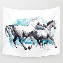 Horses (Mom&kid) Wall Tapestry