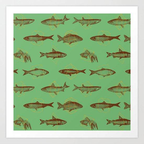Fishes In Geometrics (Old Green) Art Print