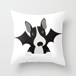 English Bull Terrier Halloween Costume Trick or Treat Throw Pillow