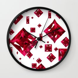 Ruby Gems Abstract Design on White Wall Clock