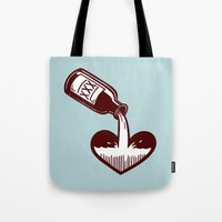 fitzgerald Tote Bags featuring F. Scott Fitzgerald by Kip Noschese
