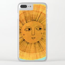 Sun Drawing Gold and Blue Clear iPhone Case