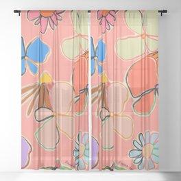VINTAGE GARDEN PEACH Sheer Curtain