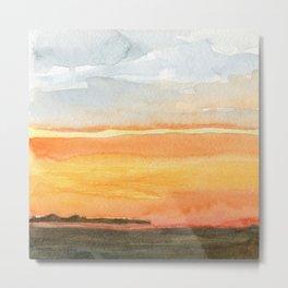 Orange Sunset - Watercolor Metal Print