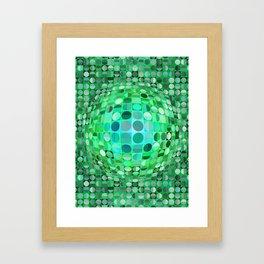 Optical Illusion Sphere - Green Framed Art Print