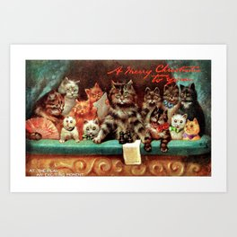 A Merry Christmas Greeting of Humanized Cats at the Opera by artist Louis Wain Art Print