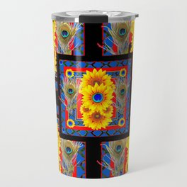BLUE PEACOCK JEWELED SUNFLOWERS DECO ABSTRACT Travel Mug
