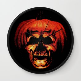 Halloween II Pumpkin Skull Stained Glass Wall Clock
