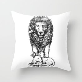 Lion Guarding Lamb Tattoo Throw Pillow