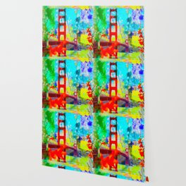 Golden Gate bridge, San Francisco, USA with blue yellow green painting abstract background Wallpaper