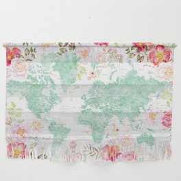 Mint green and hot pink watercolor world map with cities Wall Hanging
