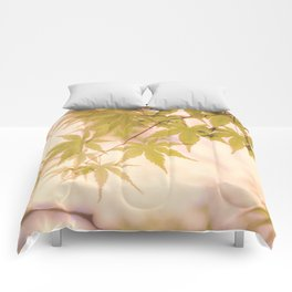 Green leaves of Japanese maple - vintage styleⅡ Comforters