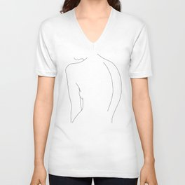 Minimal line drawing of women's body - Alex Unisex V-Ausschnitt