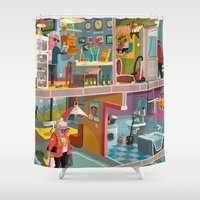 budapest Shower Curtains featuring Greetings from Budapest by Zsolt Vidak