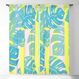 Linocut Monstera Neon Blackout Curtain