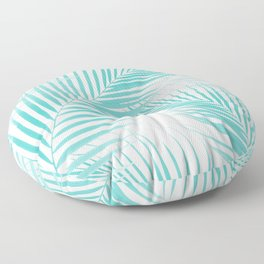 Soft Turquoise Palm Leaves Dream - Cali Summer Vibes #2 #tropical #decor #art #society6 Floor Pillow