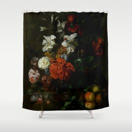 """Ernest Stuven """"Poppies, lilies, roses and other flowers in a glass vase on a draped marble ledge"""" Shower Curtain"""