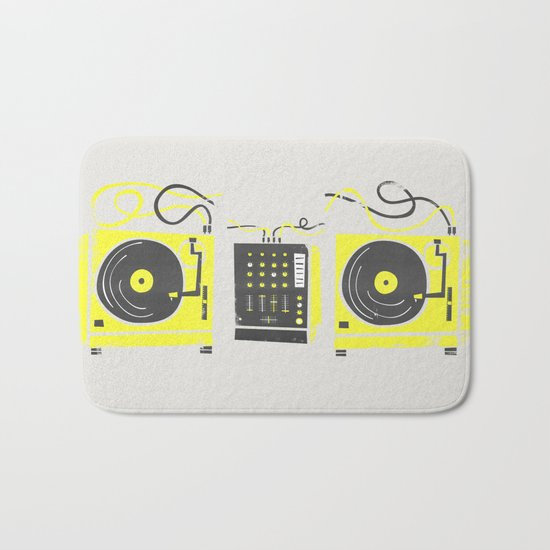 DJ Vinyl Decks And Mixer Bath Mat