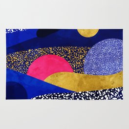 Terrazzo galaxy blue night yellow gold pink Rug