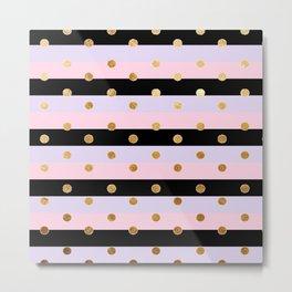 grey pink and black lines pattern Metal Print