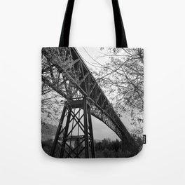 Eiffel. The mystery train bridge. BW Tote Bag