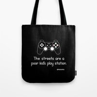 playstation Tote Bags featuring PlayStation (Black) by Mokokoma Mokhonoana