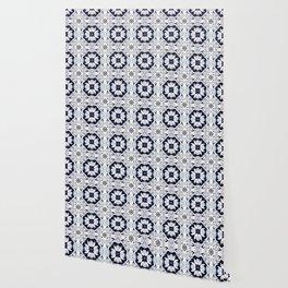 Portuguese Tiles Azulejos Blue and White Pattern Wallpaper