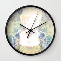 marie antoinette Wall Clocks featuring MARIE ANTOINETTE by Itxaso Beistegui Illustrations