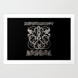 Old norse design - Two Jellinge-style entwined beasts originally carved on a rune stone in Gotland. Art Print