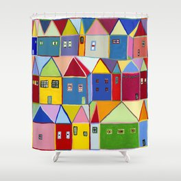 Little Houses Shower Curtain