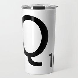 Letter Q - Custom Scrabble Letter Tile Art - Scrabble Q Initial Travel Mug