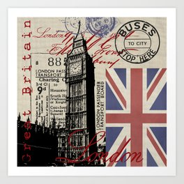 London Great Britain Big Ben Flag Collage #Society6Art Art Print