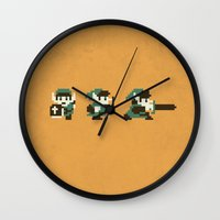 the legend of zelda Wall Clocks featuring The Legend of Zelda by Brandon Riesgo