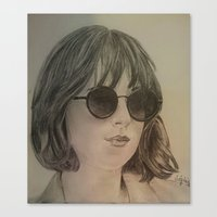 allyson johnson Canvas Prints featuring DAKOTA JOHNSON by Virginieferreux
