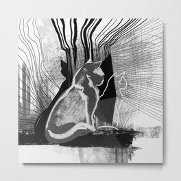 Quantum Cats BnW Metal Print