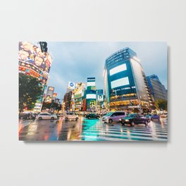 Shibuya Crossing in the Rain Metal Print